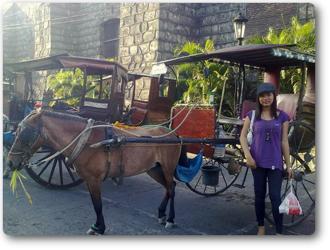 Caressa beside St. Paul Metropolitan Cathedral at Vigan